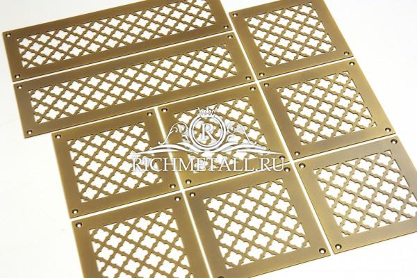 Стареные латунные решетки с эффектом затертости для вентиляции с узором классик
