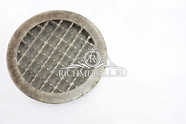 Круглая узорчатая стальная решетка с декорированием под стареное античное серебро