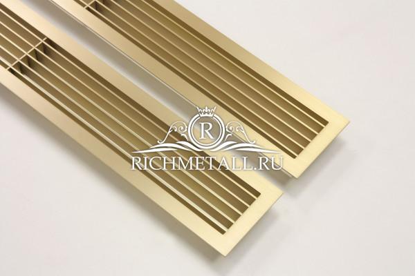Латунные решетки-жалюзи со шлифованной поверхностью под матовым лаком