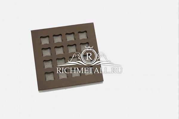 Квадратная алюминиевая решетка с узором вогнутые квадраты с декорированием под бронзу