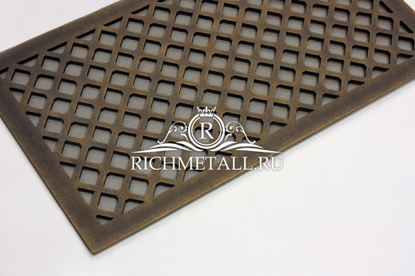 Алюминиевая решетка с декорированием под состаренную бронзу