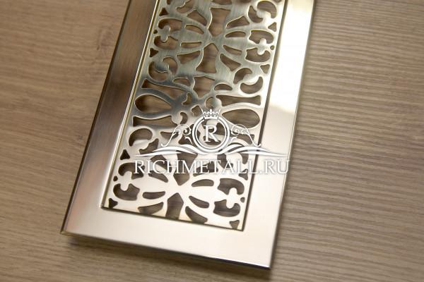Латунная решетка для столешницы с марокканским орнаментом и накладной рамкой